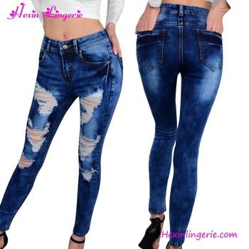 Light Blue Donna Jeans Strappati Pantaloni Lunghi Turco Commercio All  ingrosso Della Cina 334794c4e10