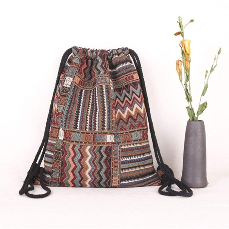Chartsea Drawstring Bucket Bag Bohemia Printing Canvas Printing High Capacity Bucket Bag Backpack Shoulder Bag (A)