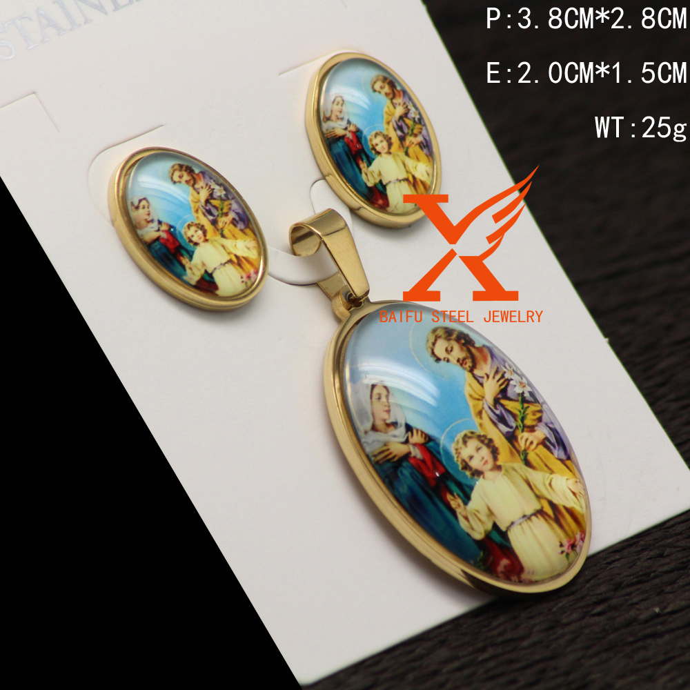 Handmade Stainless Steel Gold Plated Religious Holy Virgen Mary And Baby Jesus Family Pendant Earrings Jewelry Set