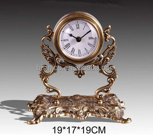 Exceptional Antique Brass Imitate Iron Moulder Table Clock With Marble Pedestal, Luxury  Home Decorative Copper Clock