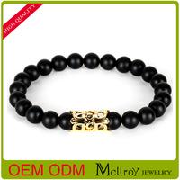High quality semi-precious stone 8mm natural black agate anchor men hand gift bracelet