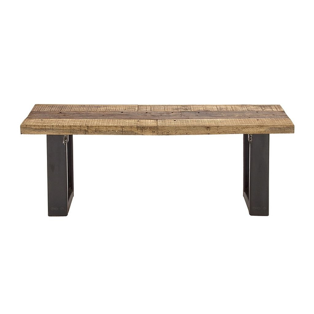 Wood Metal Bench, Backless, Perfect As An Accent Piece In Your Home, This Backless Wood Metal Bench Is Just Right For A Rustic Feel.