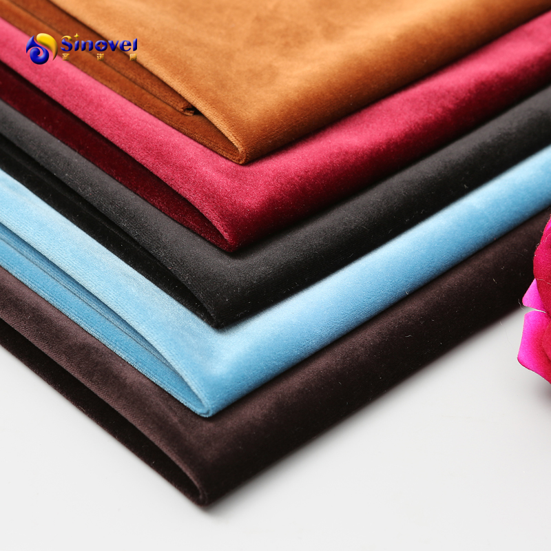 China supplier hot sale microfiber polyester knitted wholesale Plain Holland velvet fabrics for upholstery in stock