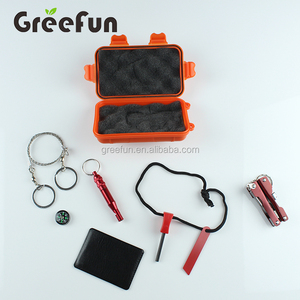 Outdoor Emergency Survival Pack Kit with Compass , Fire Starter , Whistle , Survival Card , Saw , Flashlight Multifunction Card