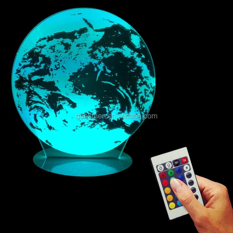 Earth 3D Optical Illusion Planet Night Light Plexiglass Vision LED Calm 3D Led Lamp with Color Changing Remote Controller