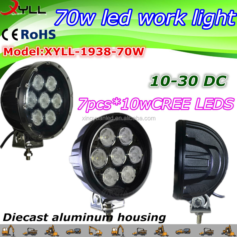 70W led work light of truck , car driving of offroad , DC 10-30V waterproof IP 67 work lamp
