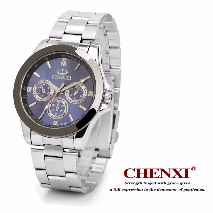 CHENXI 009 B 2 Chinese Watch Wholesale Price Guangzhou Market Branding Watch CHENXI Silver Arab Number Stainless Steel Watch Men