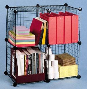 Fil m tallique grille de rangement cube et modulaire tag res porteurs - Cube metallique rangement ...