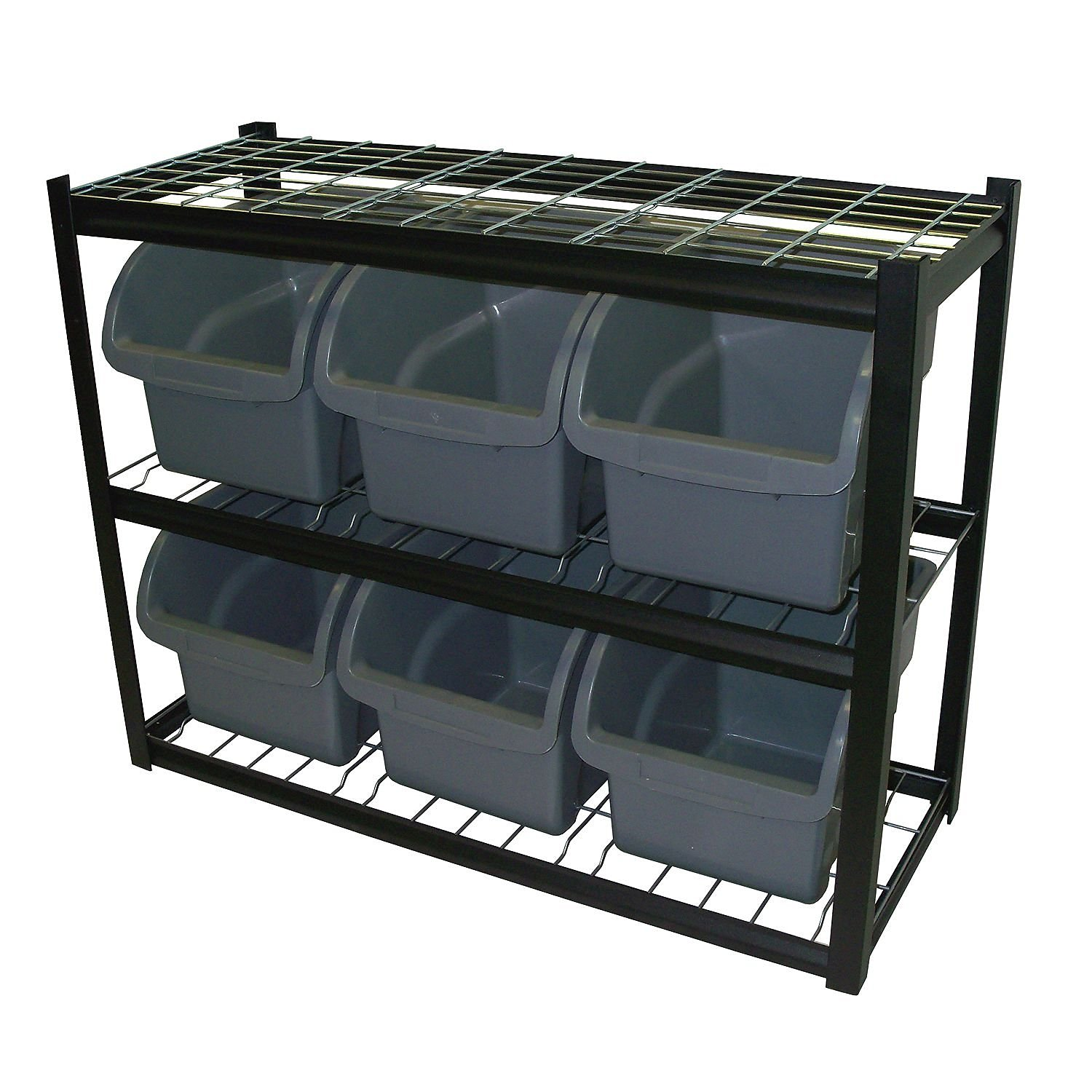 Get Quotations · Industrial Commercial Black Storage Unit, Organizer, Bin  Shelving, 6 Jumbo Bins