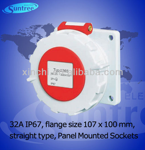 IP67 waterproof 63A Flange Dimensions 107 x 100mm,industrial outlets with CE