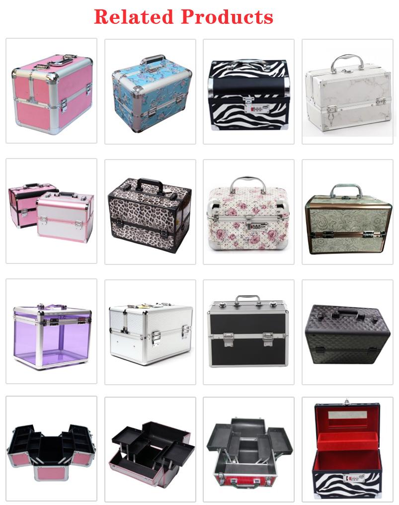 Donne calde di vendita multi trayers di Alluminio d'argento di trucco valigetta borsa da viaggio professionale brillante di immagazzinaggio beauty case make up