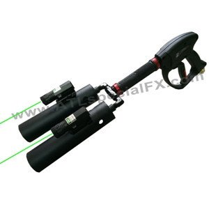 Handheld Dual Nozzle Cannon Co2 Fog Gun (With Lasers) for DJs and Nightclub Partys - Co2 Cryogenics Cannon Gun, Smoke Fog Machine