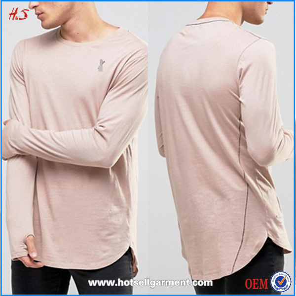Latest Fashion Men's t Shirts Plain Wholesale Long sleeves men t shirt with thumb hole