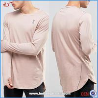 Latest Fashion Men's t Shirts Plain Wholesale Long sleeves men t shirt with thumb hole