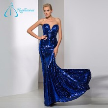 2017 Women Sequins Cloth Plus Size Sexy Mermaid Evening Dress