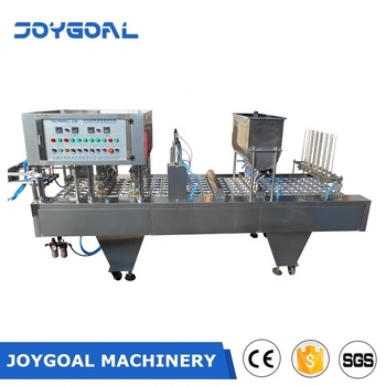 JOYGOAL new design automatic cup filling and sealing machine for liquid water milk yogurt juice jelly paste