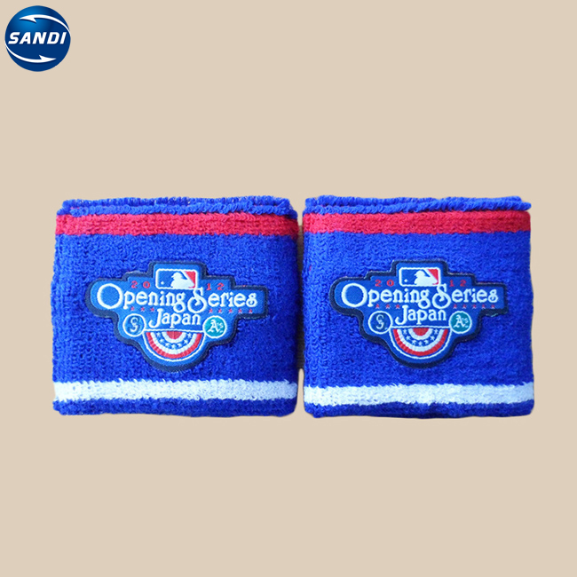 Custom sports embroidery elastic cotton wrist sweat band