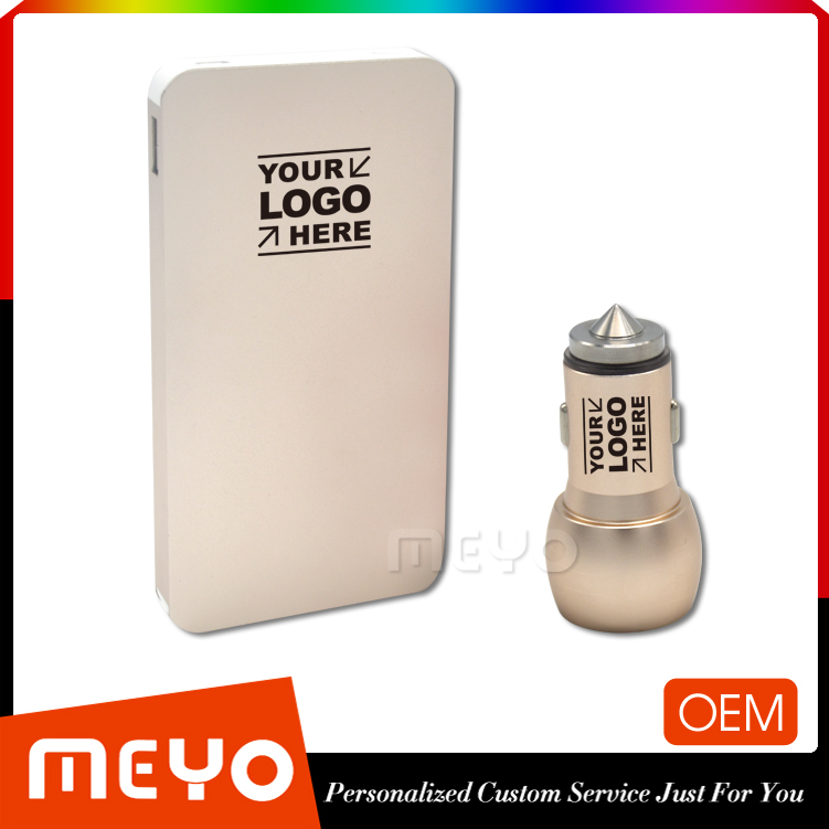 XD9 personalized corporate giveaways power bank gift ideas for businessmen gift set with powder bank and car charger