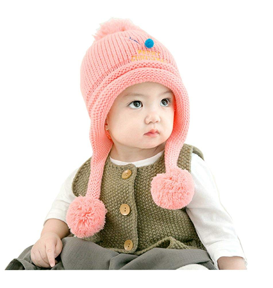 217ec12ad29 Get Quotations · Toddler Kid Girl Boys Baby Winter Warm Hat Soft Knit  Earflap Caps