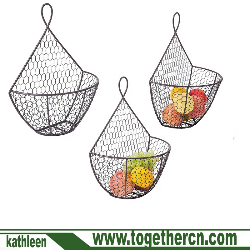 Chicken Wire Hanging Produce Bins Set 3 Wall Mounted Brown Metal Fruit Vegetable Baskets