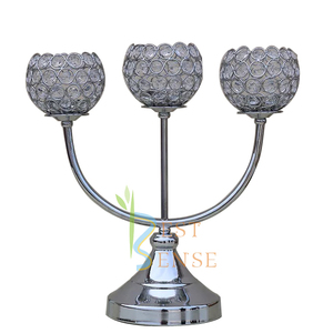 36cm 3 Arms Crystal Ball top Candlestick for wedding table decoration
