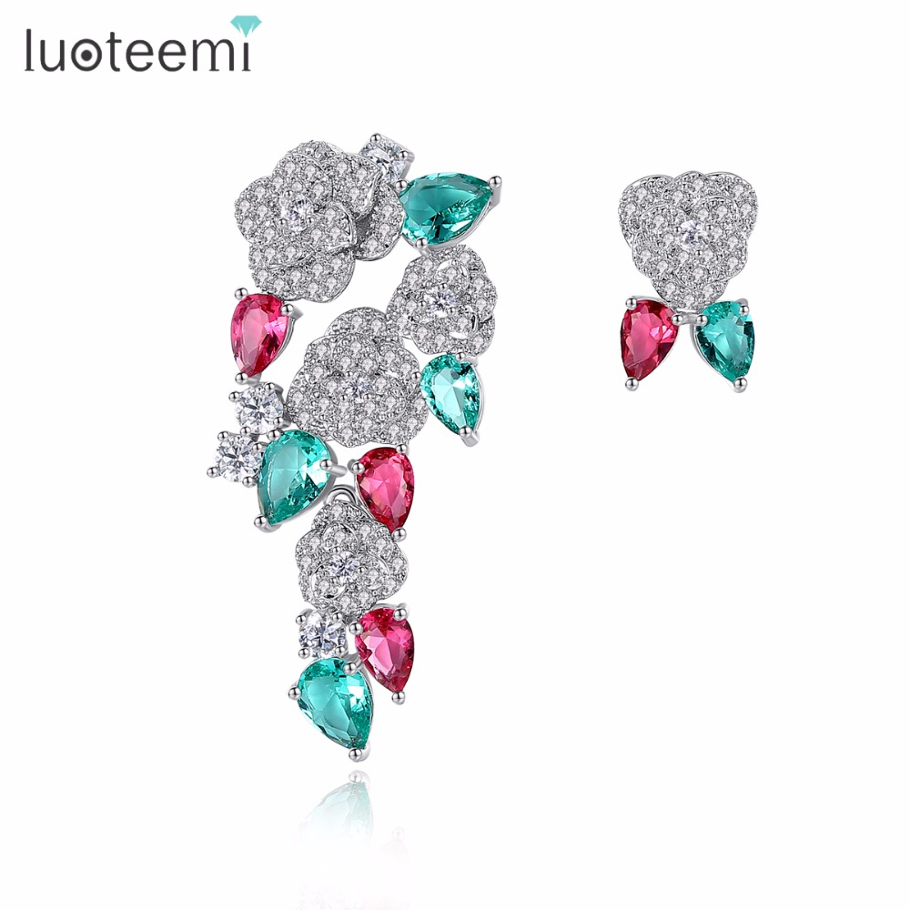 LUOTEEMI Unique Bohemia Stylish Multi Waterdrop CZ <strong>Rose</strong> <strong>Flower</strong> Shape Stud <strong>Earrings</strong> for Women Fashion Jewelry Brinco Gift