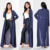 100% Polyester Duster Jacket Sheer Chiffon Maxi Length Long Sleeve Open Front Chiffon Maxi Cardigan Outwear Casual Cover up