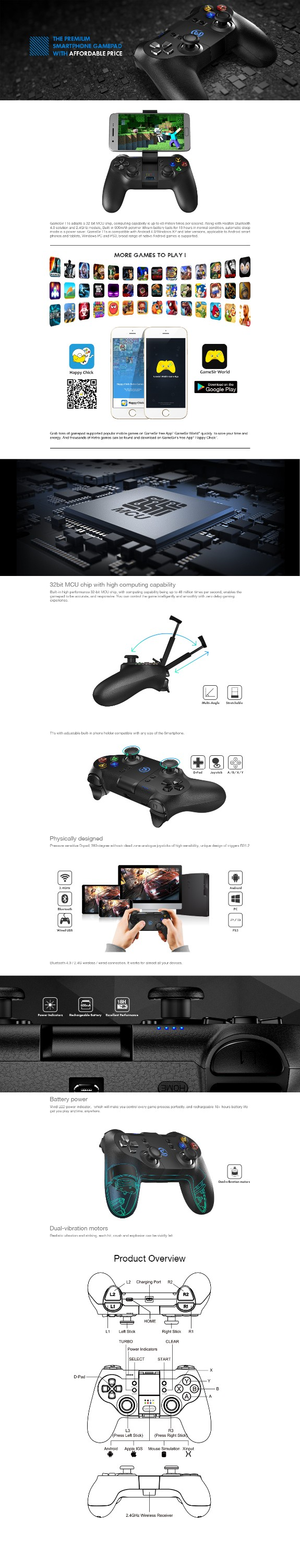 High quality dual vibration Bluetooth wireless joypads for windows pc/3D glasses