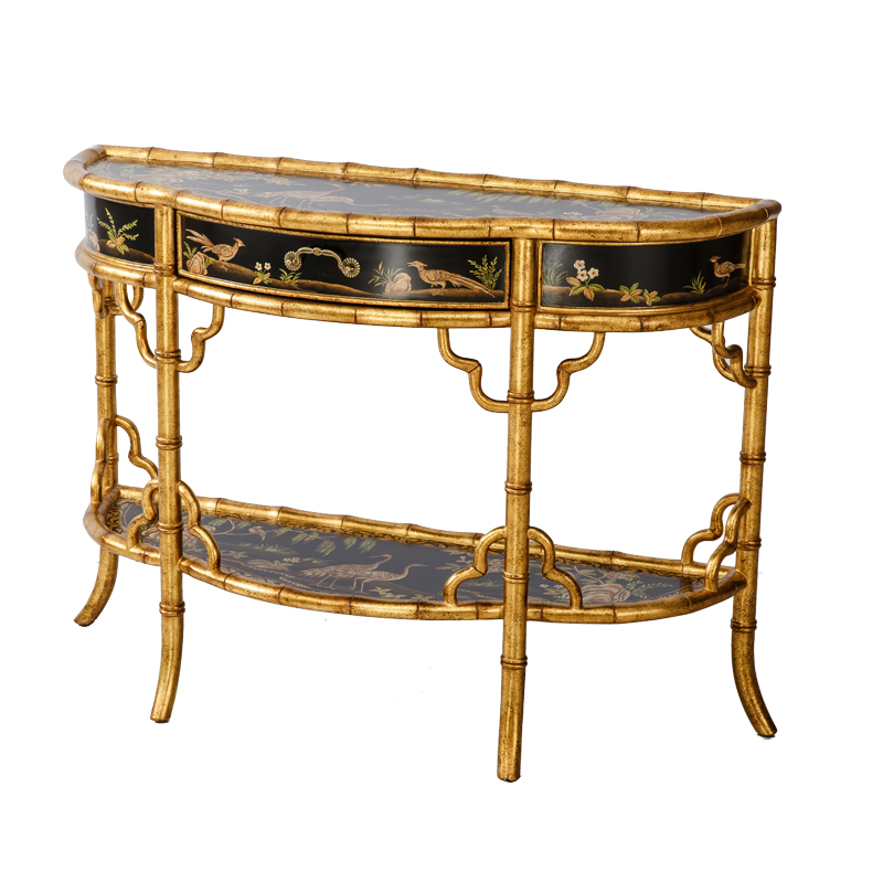 bird art console table
