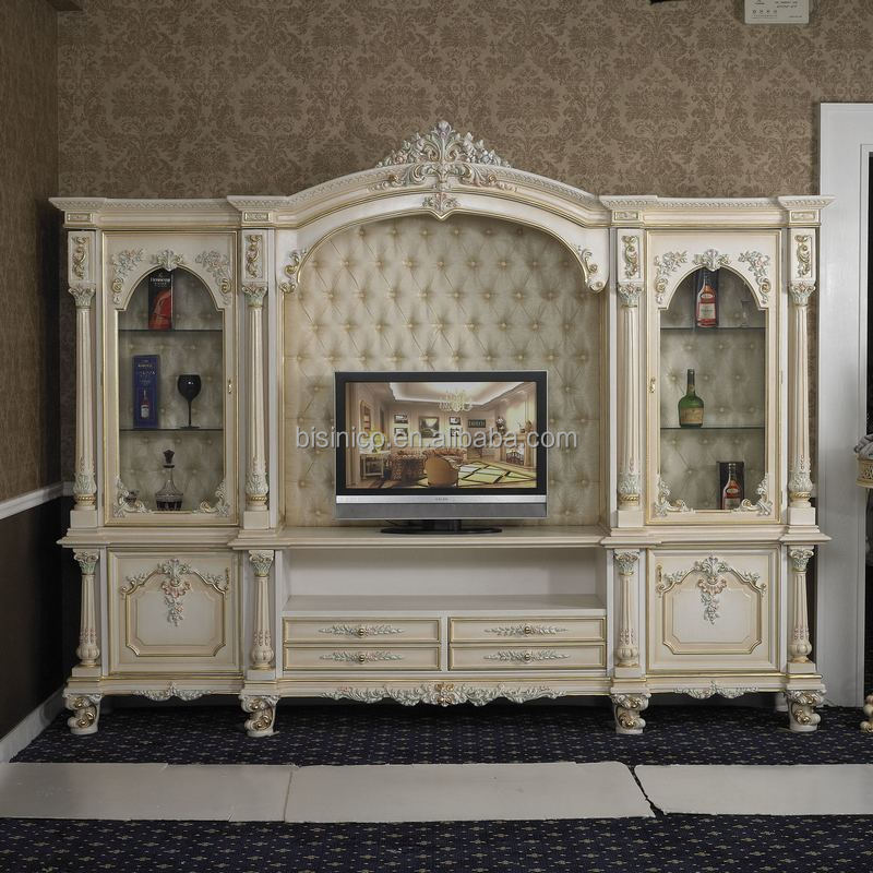 Italy Style European Classical White And Gold Colour Wooden Tv Stand