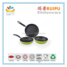 High quality cheap custom ceramic coating colored frying pans,cookware diecast parts green