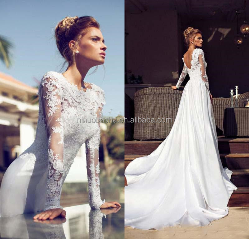 New Arrival 2018 Alibaba Wedding Dress Jewel Neck Sheer Long Sleeve