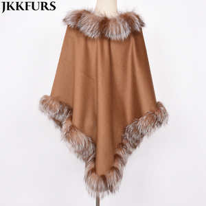 Top Selling Handmade Fox Fur Collar Poncho Real Fur Shawl Cashmere Shawl With Fox Fur Trim