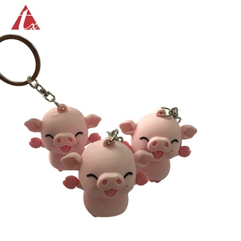 Custom cute promotional souvenir cartoon doll small gift silicone toy key chain vinyl soft pvc rubber 3D pig keychains