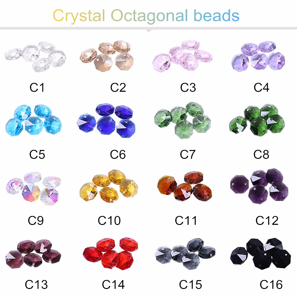 Pujiang wholesale exquisite octagon crystal glass beads with hole