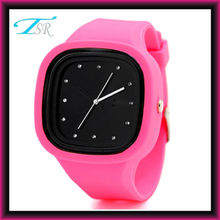 2016 colorful jelly silicone watches own logo with interchangeable band and big face for teens Top selling