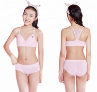 Fashion teen bra brief set lace racer back youth bra for school girls first bra