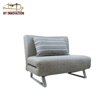 Cheap Gray Fabric Simple Single Seat Living Rome Lounge Folding Futon Sofa Bed