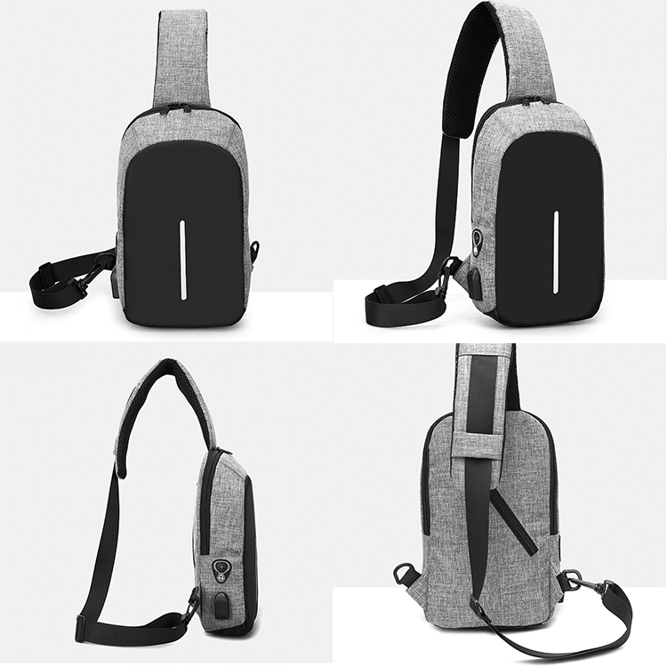 Fashion waterproof crossbody messenger shoulder bags men Smart USB charging Anti theft sling chest bag