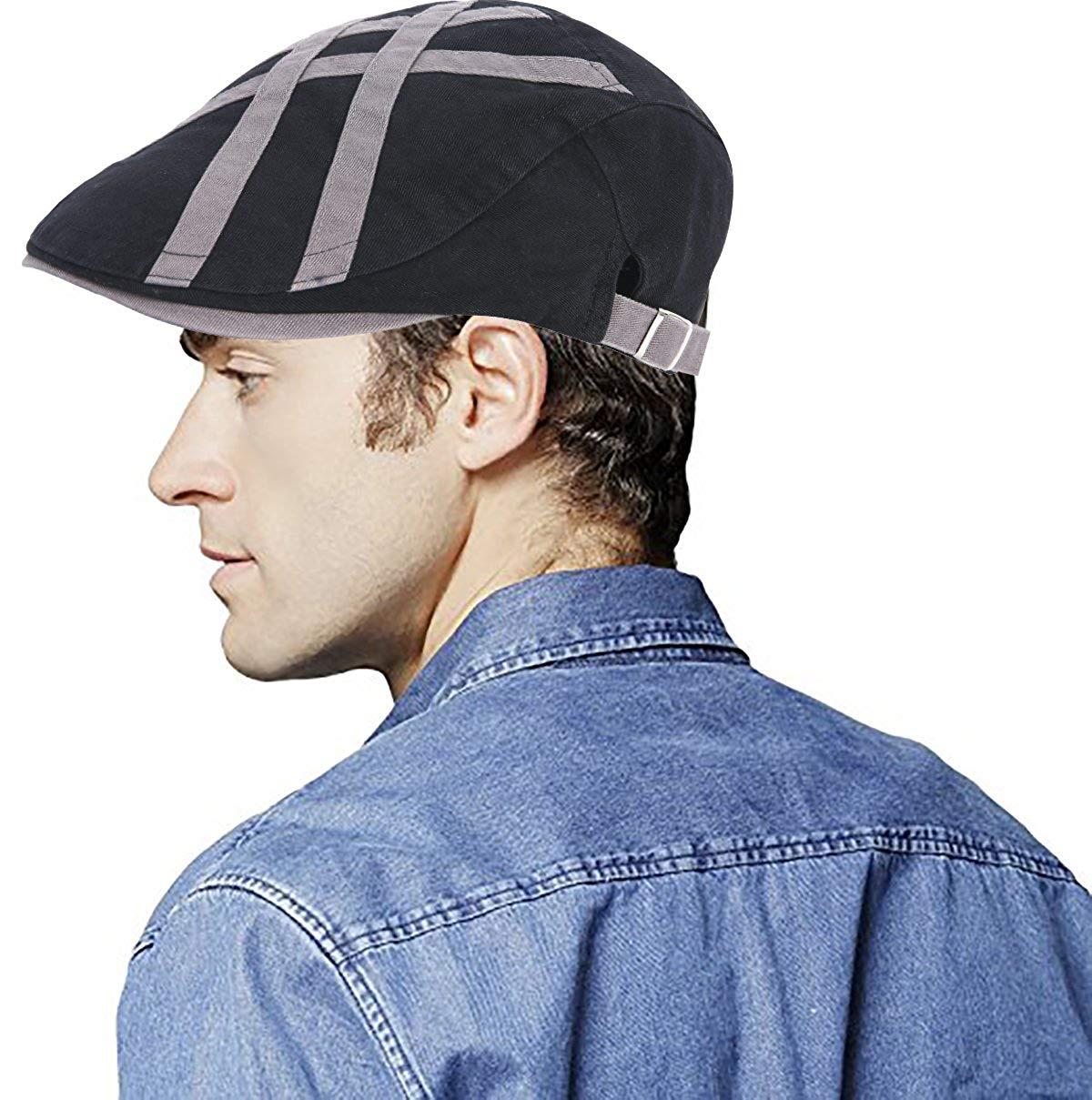 c319a155a2ed1 Get Quotations · UNIQUEBELLA Adjustable newsboy Cap IVY Flat Hat Gatsby  Golf Driver Beret Caps For Men   Women