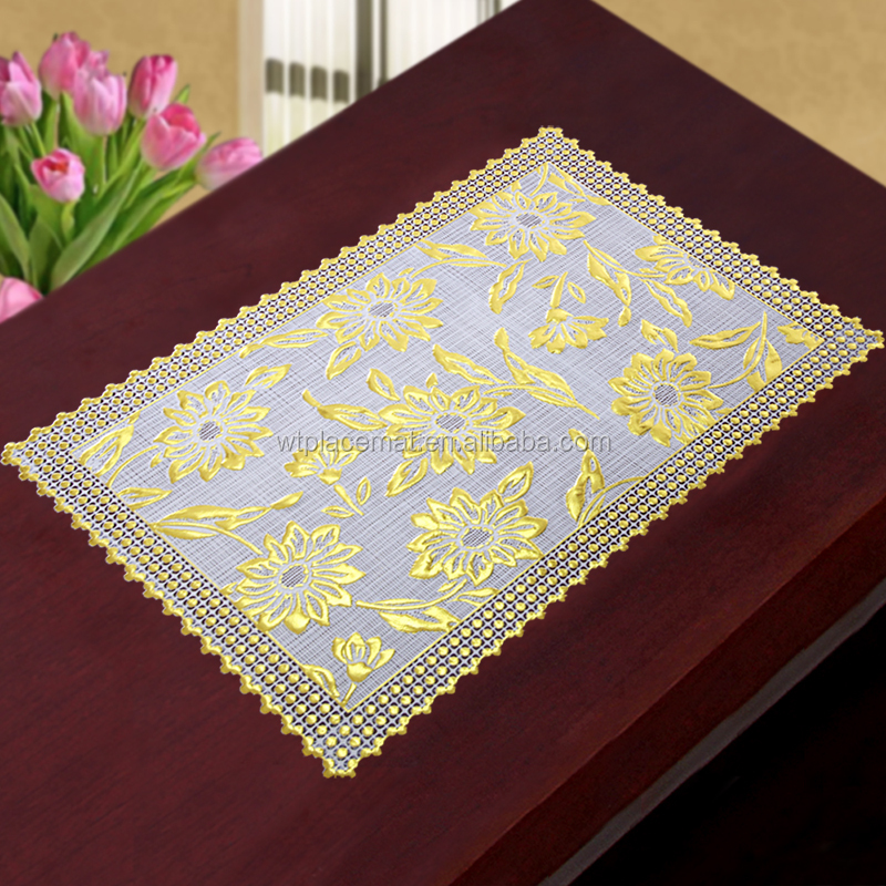 Hot sale Eco-friendly Gold flower embossed gold placemat