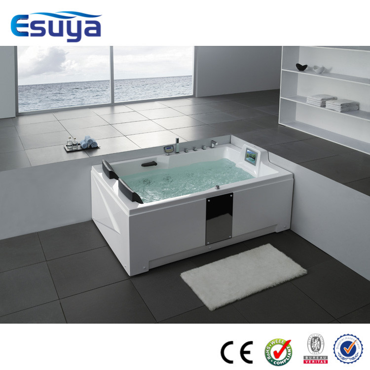 Square freestanding jets massage tubs double apron whirlpool bathtub