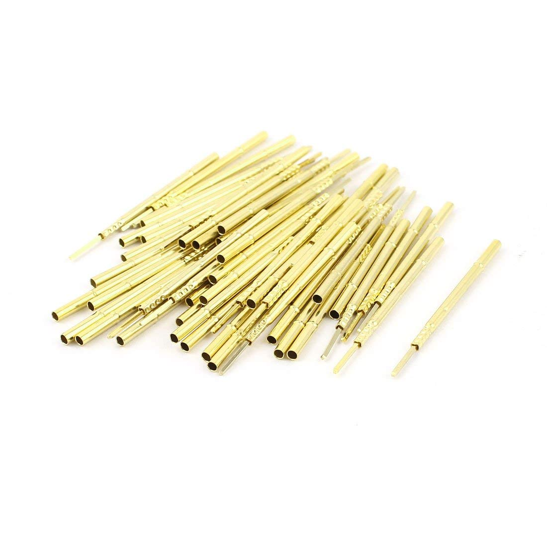 Aexit 50 Pcs Audio & Video Accessories R100-4W 1.7mm Dia Testing Probe Pin Receptacles Connectors & Adapters Gold Tone