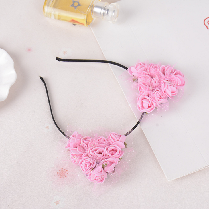 New Design Cute Hair Band Cat Ears pink Flower Headband For Girls AC010