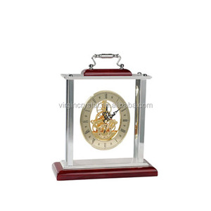 Wooden mechanical clock with silver handle for promotion