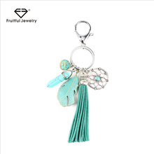For Women and Men New Arrival Tassel Leather Key Chain Retro Turquoises Leaves Pendant Key Ring