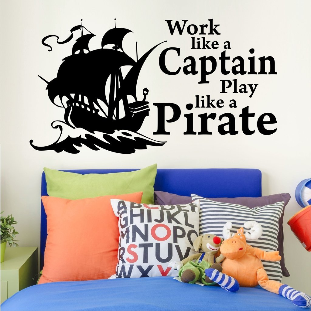 """Work Like a Captain, Play Like a Pirate Children's Inspirational Wall Decal Quotes 36"""" W by 19"""" H, Pirate Wall Decals, Pirate Ship Decals, Boy's Quote Wall Decals, PLUS FREE WHITE HELLO DOOR DECAL"""