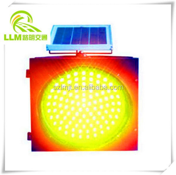 Best price 300mm yellow flashing solar powered LED traffic warning light