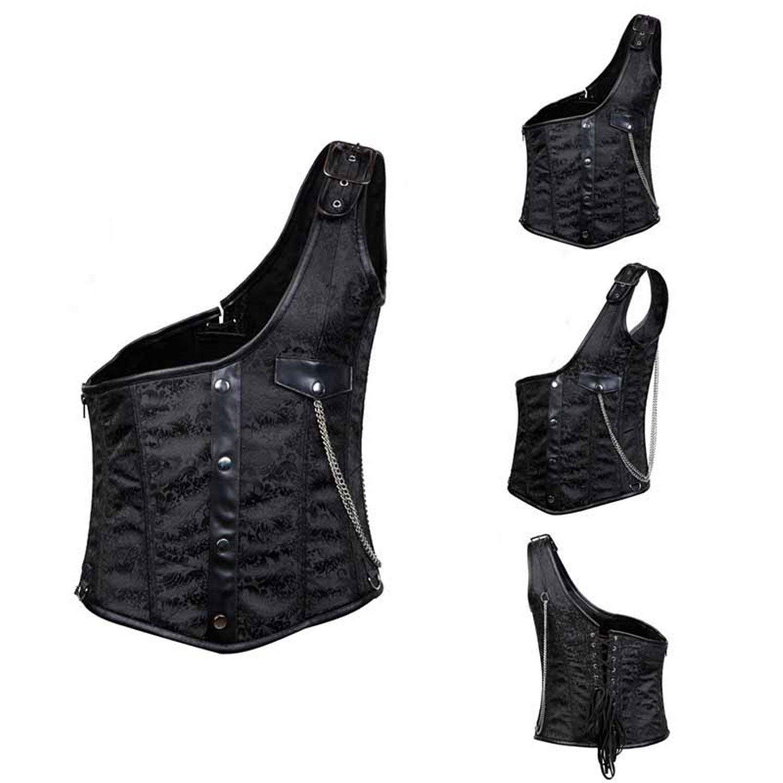 Wanyesta Men Brocade Buckled Steel Boned Steampunk Corset Vest Waistcoats Jacket