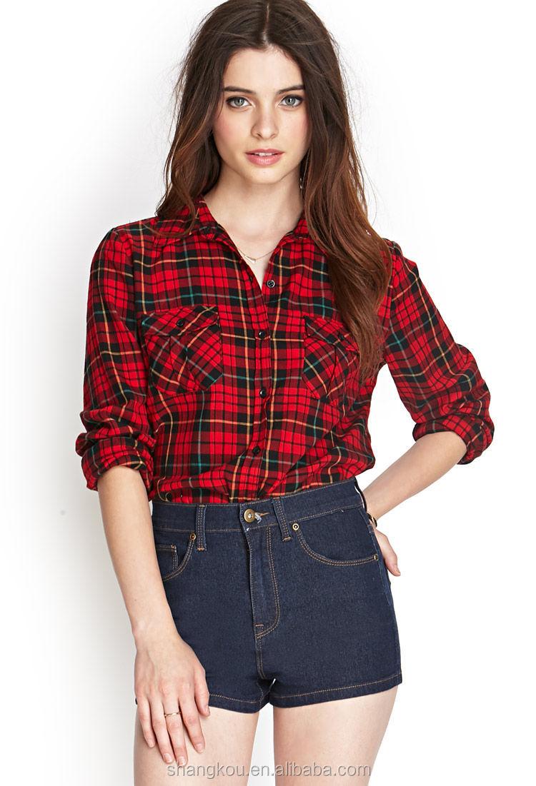Shirt design ladies - Long Sleeve Plaid Shirt For Women Women Casual Check Shirt Design Women Shirt